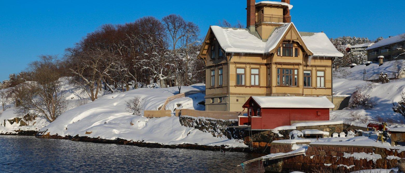 2019 Snø i vannkanten. Universitetets biologiske forskningsstasjon i Drøbak, Akershus